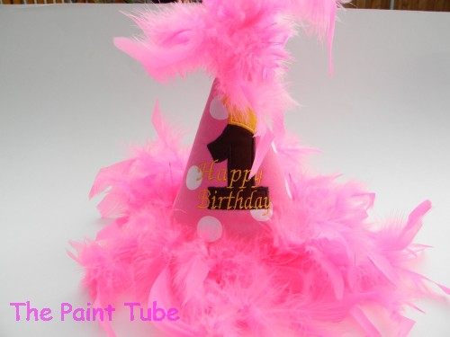 Personalized birthday hats the paint tube custom baby gifts personalized birthday hat in hot pink polks dots negle